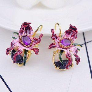 Les Nereides Purple Flower&Stone Ear Clip